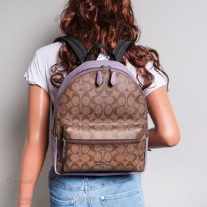 NWT Coach Medium Charlie Backpack in khaki/Lilac